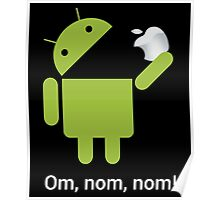 Android Om Nom Nom - Android Eat Apple Poster