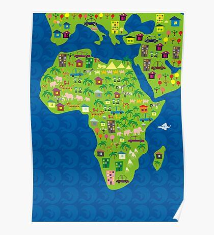 cartoon map of africa Poster