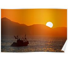 Fishing boat at sunrise Poster