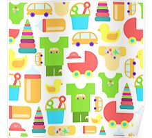 Pattern of baby goods. With the new baby! Perfect for baby shower.  Poster
