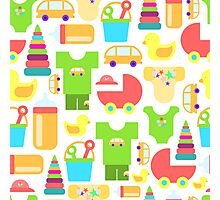 Pattern of baby goods. With the new baby! Perfect for baby shower.  Photographic Print