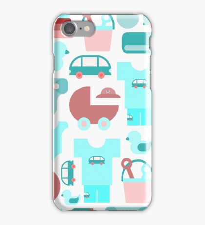 Pattern of baby goods icons. Set of flat icons. With the new baby! iPhone Case/Skin