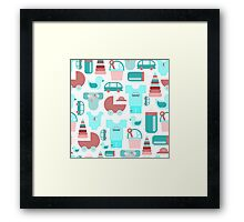 Pattern of baby goods icons. Set of flat icons. With the new baby! Framed Print