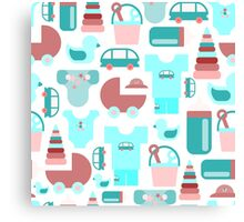 Pattern of baby goods icons. Set of flat icons. With the new baby! Canvas Print