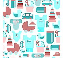 Pattern of baby goods icons. Set of flat icons. With the new baby! Photographic Print