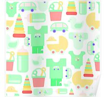Pattern of baby goods. With the new baby! Poster
