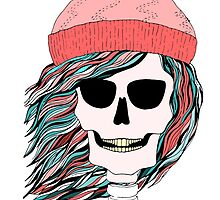 Skull girl in a hat with a flowing hair. Winter is coming. by HelgaScand