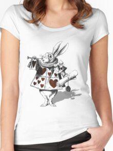 White rabbit heart Women's Fitted Scoop T-Shirt