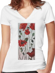Wild poppies Women's Fitted V-Neck T-Shirt