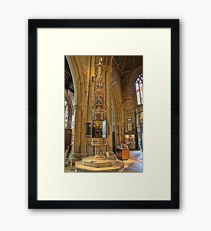 ST Wulframs Church Font Grantham,England Framed Print