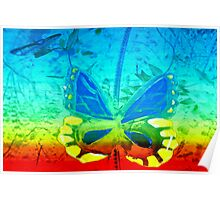 Butterfly in primary colors Poster