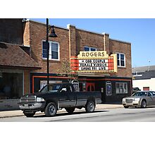 Rogers City, Michigan - Theater and Pickup Photographic Print