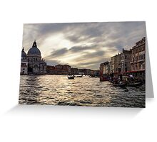 Impressions of Venice - the Grand Canal in Silver and Pearl Greeting Card