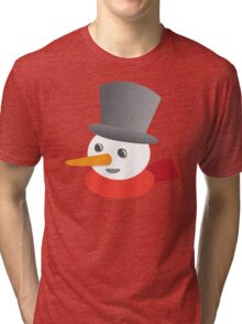 Cute snowman smiling with a top hat Tri-blend T-Shirt