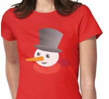 Cute snowman smiling with a top hat Womens Fitted T-Shirt