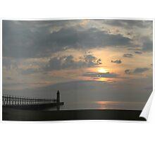Lake Michigan Lighthouse Sunset Poster