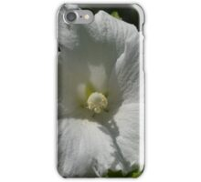 Open White Hibiscus Revealing Pollen-Coated Pistil iPhone Case/Skin