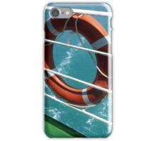 Orange Lifebelt on Holiday Cruise Ship Railings iPhone Case/Skin