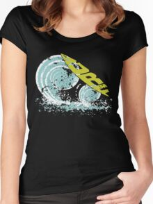 surfboard on waves Women's Fitted Scoop T-Shirt