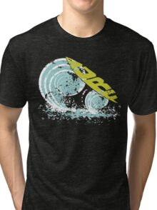 surfboard on waves Tri-blend T-Shirt
