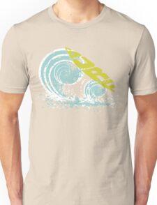 surfboard on waves Unisex T-Shirt