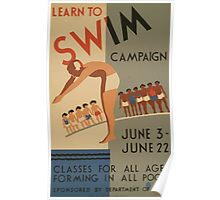 WPA United States Government Work Project Administration Poster 0701 Learn to Swim Campaign Department of Parks Poster