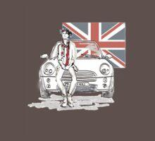 Mini car and Union Jack  One Piece - Short Sleeve