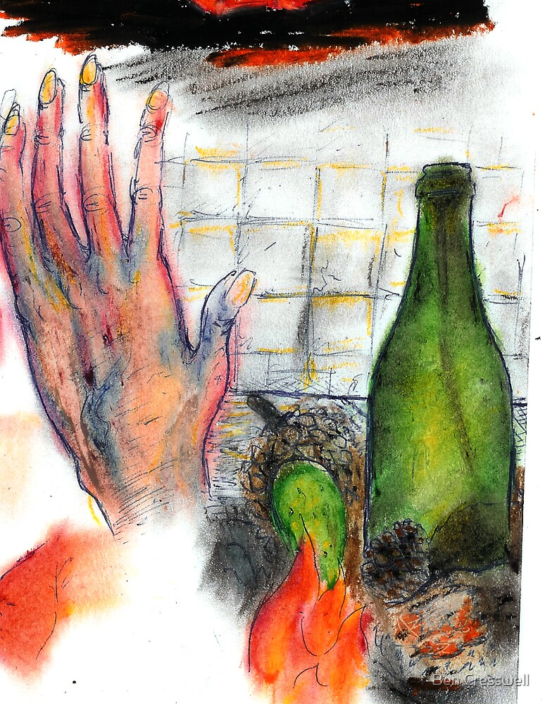 A small still life and a hand,  by Ben Cresswell