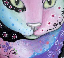 Colorful Cat Illustration, Kitty Artwork Sticker