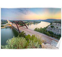 360 Bridge Sunset over Austin in August 2 Poster