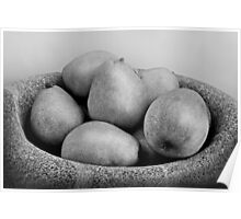 Six Pears in a Stone bowl Poster