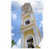 Traditional Mexican Yellow Stonewashed Church Bell Tower Poster