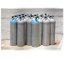 Silver Scuba Diving Cylinder Tanks on the Dockside Poster