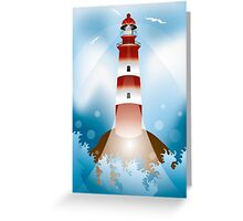 Rock with lighthouse and waves Greeting Card