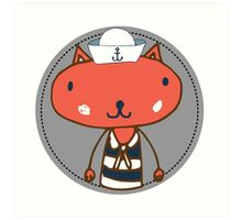 Nautical Adventures: Sailor Cat Art Print
