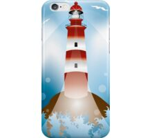 Rock with lighthouse and waves iPhone Case/Skin