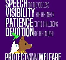 Protect Animal Welfare (white text) by Charlotte Gledhill