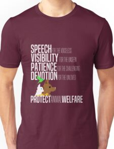 Protect Animal Welfare (white text) Unisex T-Shirt