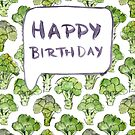 Broccoli Birthday Card by Vicky Webb