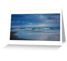 Waves roll in at sunset - Ocean Beach Greeting Card