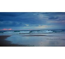 Waves roll in at sunset - Ocean Beach Photographic Print
