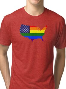 LGBT American Flag Map of the United States Tri-blend T-Shirt