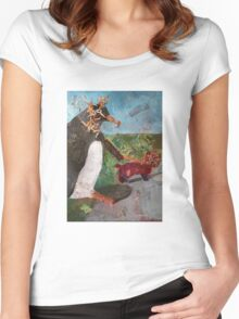 Penguin walking a dog Women's Fitted Scoop T-Shirt