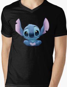 Stitch Heart Mens V-Neck T-Shirt