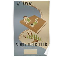 WPA United States Government Work Project Administration Poster 0531 A Trip Around the World Story Hour Club Poster