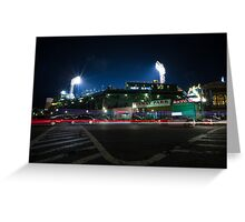 Fenway Park at Night with Light Trail Greeting Card