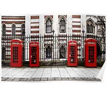 Four traditional red phone boxes in a row, London, England Poster