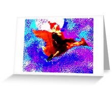 Santa on the Flying Goose Greeting Card