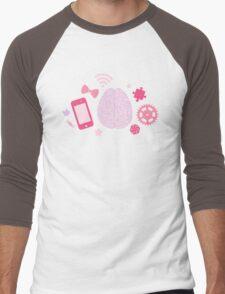 Girl's Brain Pattern Men's Baseball ¾ T-Shirt