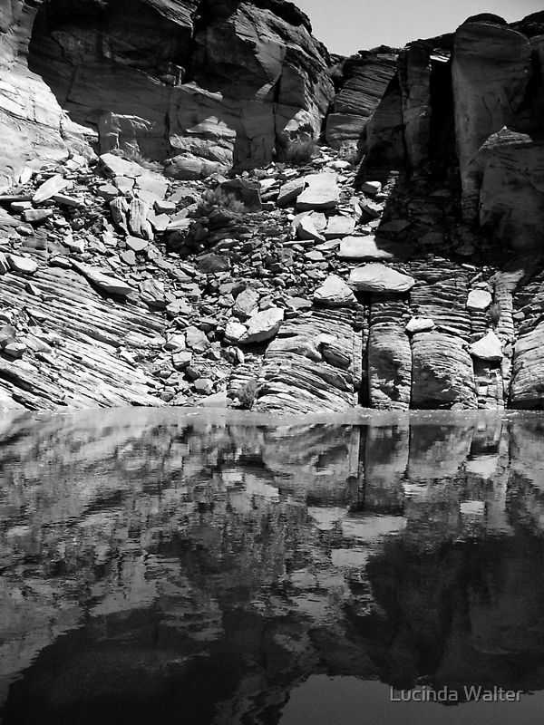 Canyon Wall Reflection at Lake Powell ~ Black & White by Lucinda Walter